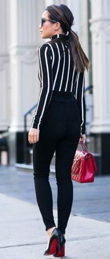 #fall #musthave #trends | Striped Shirt + High Waisted Pants + Pop Of Red