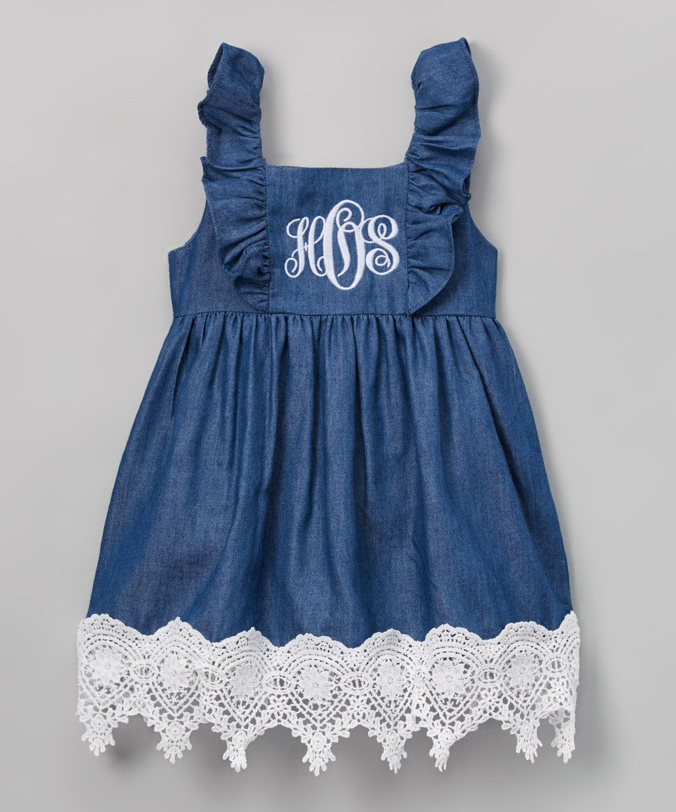23511f634d2a4 Look what I found on  zulily! Navy   White Monogram Denim Dress - Infant