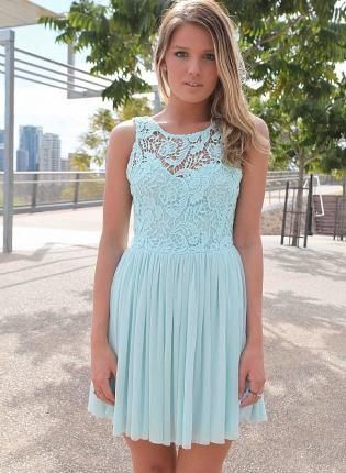9fb2bfbf47c Light Blue Dress with Sheer Lace Top Pleated Skirt