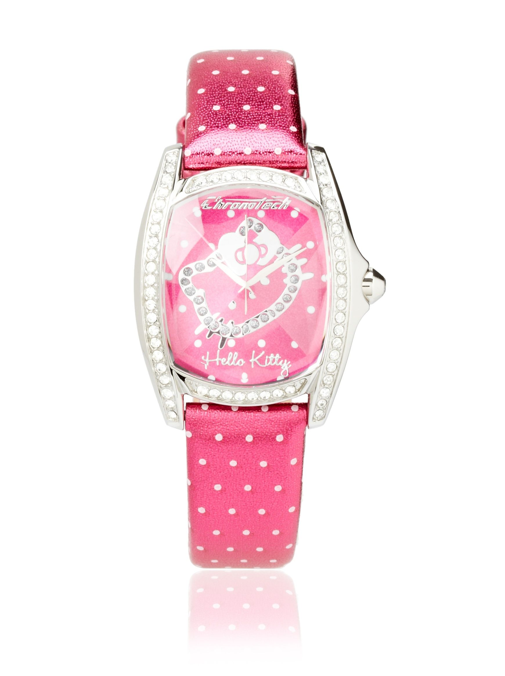 Hello Kitty Pink Dot Stainless Steel Watch Crystal Bezel