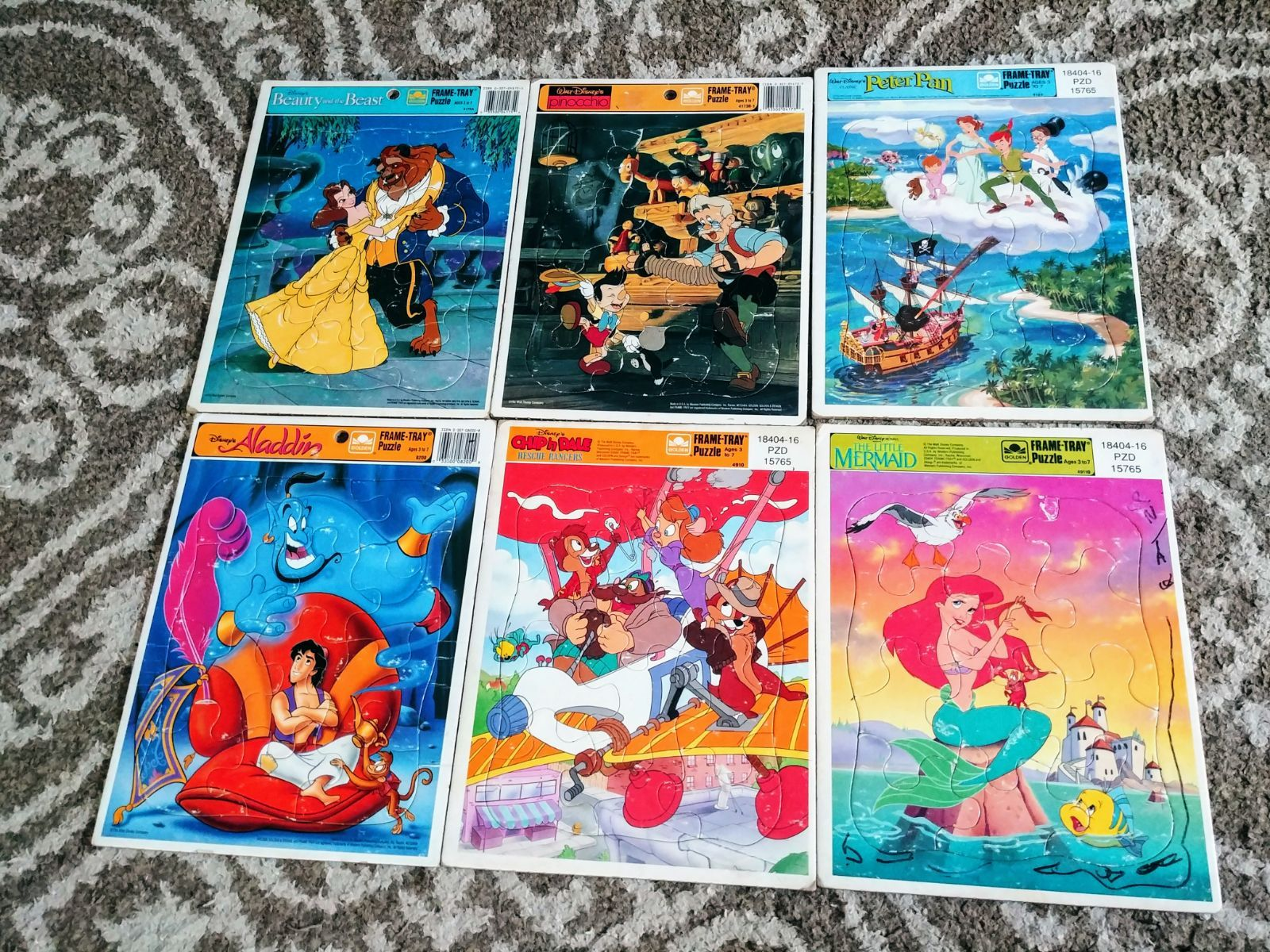 Set Of Six Vintage Disney Frame Tray Puzzles From The Nineties Includes Beauty And The Beast Pinocchio Alad Disney Frames Vintage Disney Disney Collectables