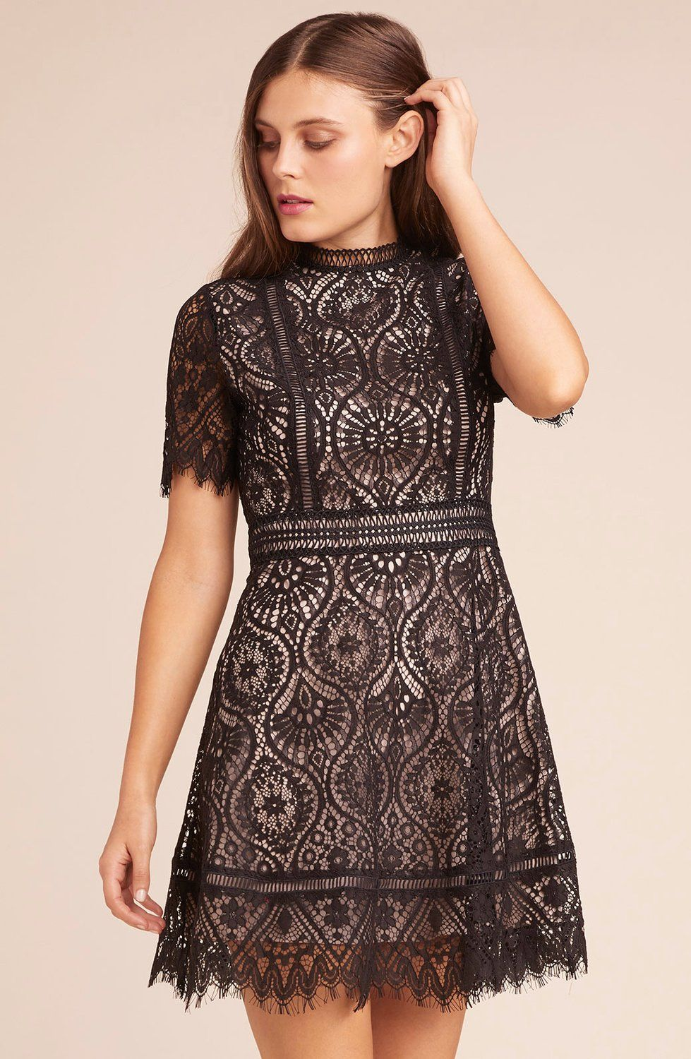 Lace dress styles 2018  On The List Scalloped Lace Dress  Black    fall style