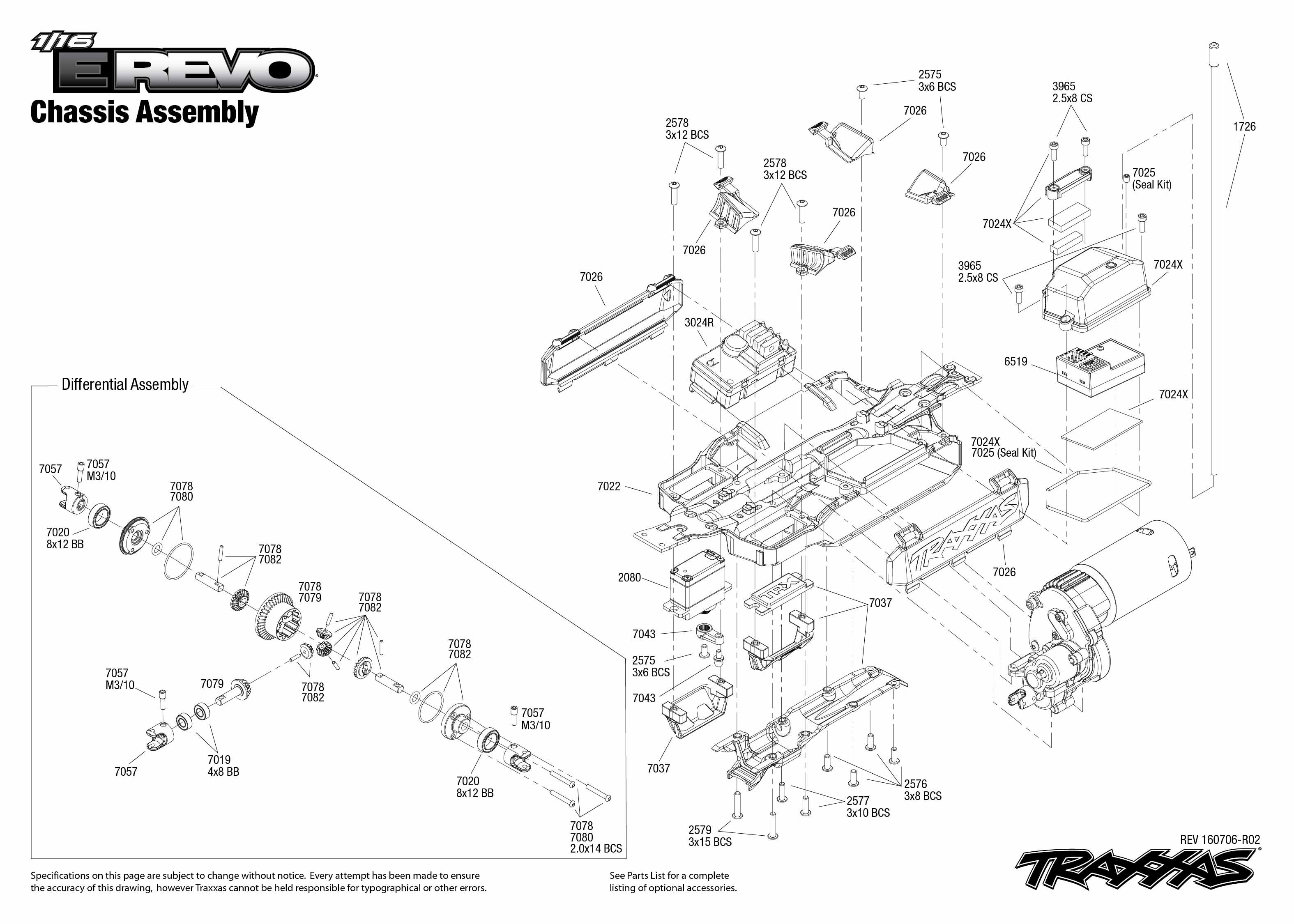1 16 e revo 71054 1 chassis assembly exploded view. Black Bedroom Furniture Sets. Home Design Ideas