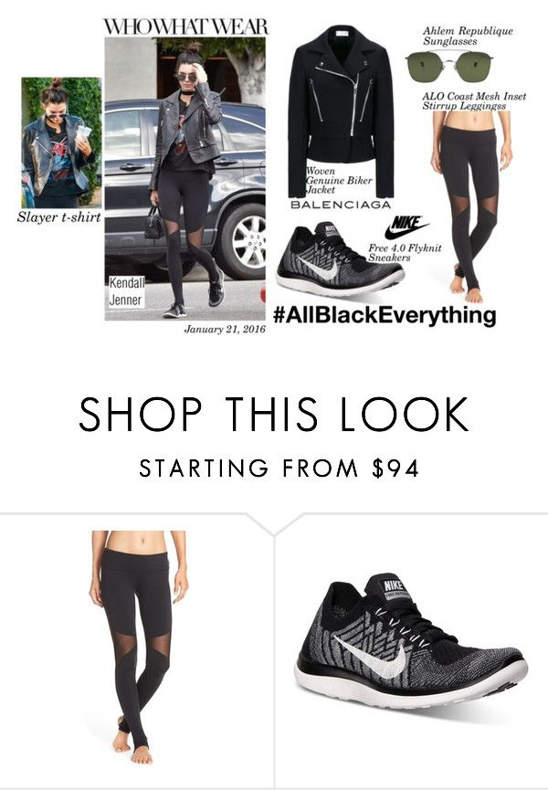 """""""Kendall Jenner- January 21, 2016"""" by ayonna-smith ❤ liked on Polyvore featuring Alo, NIKE, Balenciaga, women's clothing, women's fashion, women, female, woman, misses and juniors"""