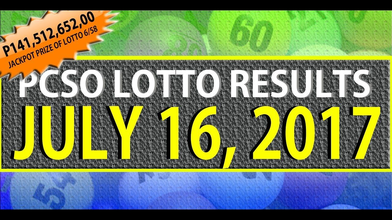 PCSO Lotto Results Today l July 16, 2017 (6/58, 6/49