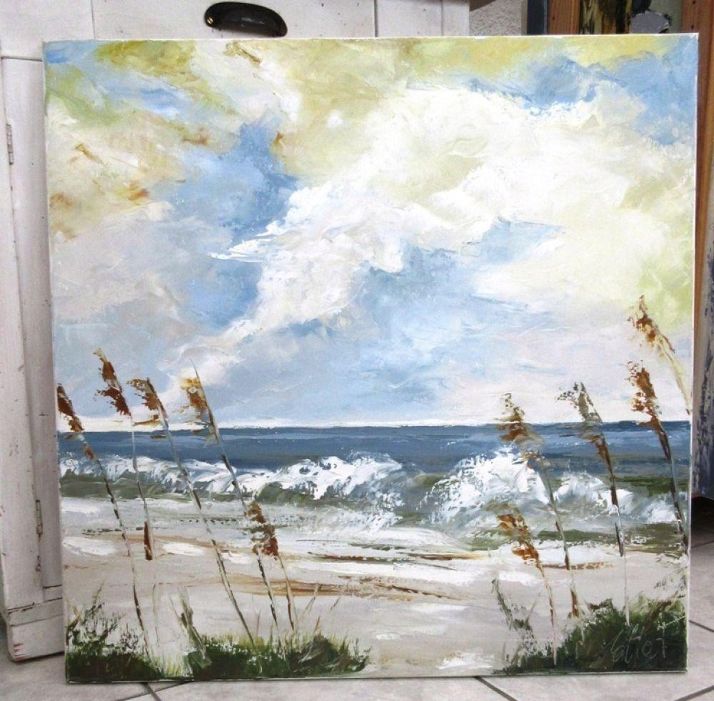 Entre Mer Et Falaise 90x60 Paysage De Mer Peinture Peinture
