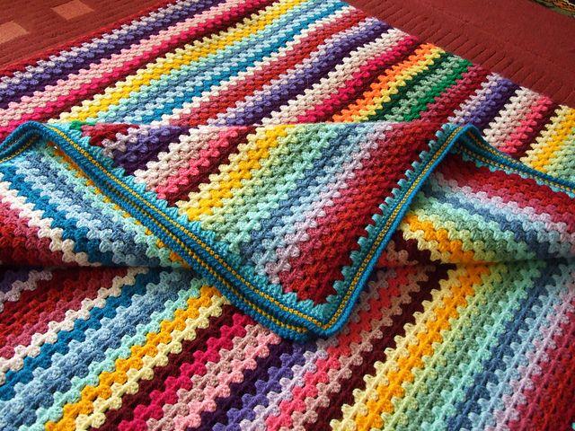 Granny Stripe blanket   Manta, Tejido y Mantas de ganchillo