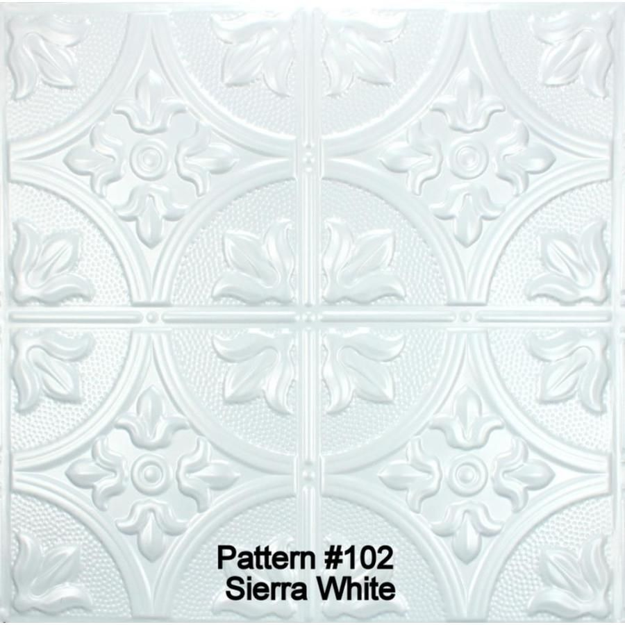 Metal Ceiling Express 102 Sierra White Coated 5 Fleur De Lis 12 In Repeat Pattern Common 24 In X 24 In Actual 24 50 In X 24 50 In Sierra White Protec In 2020 White Tin Ceiling White