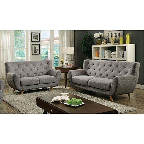 Furniture of America Malania Tufted 2 Piece Sofa Set in Light Gray