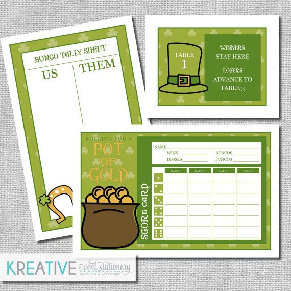 St Patricks Day Bunco Score Card Set  Pot Of Gold  Includes