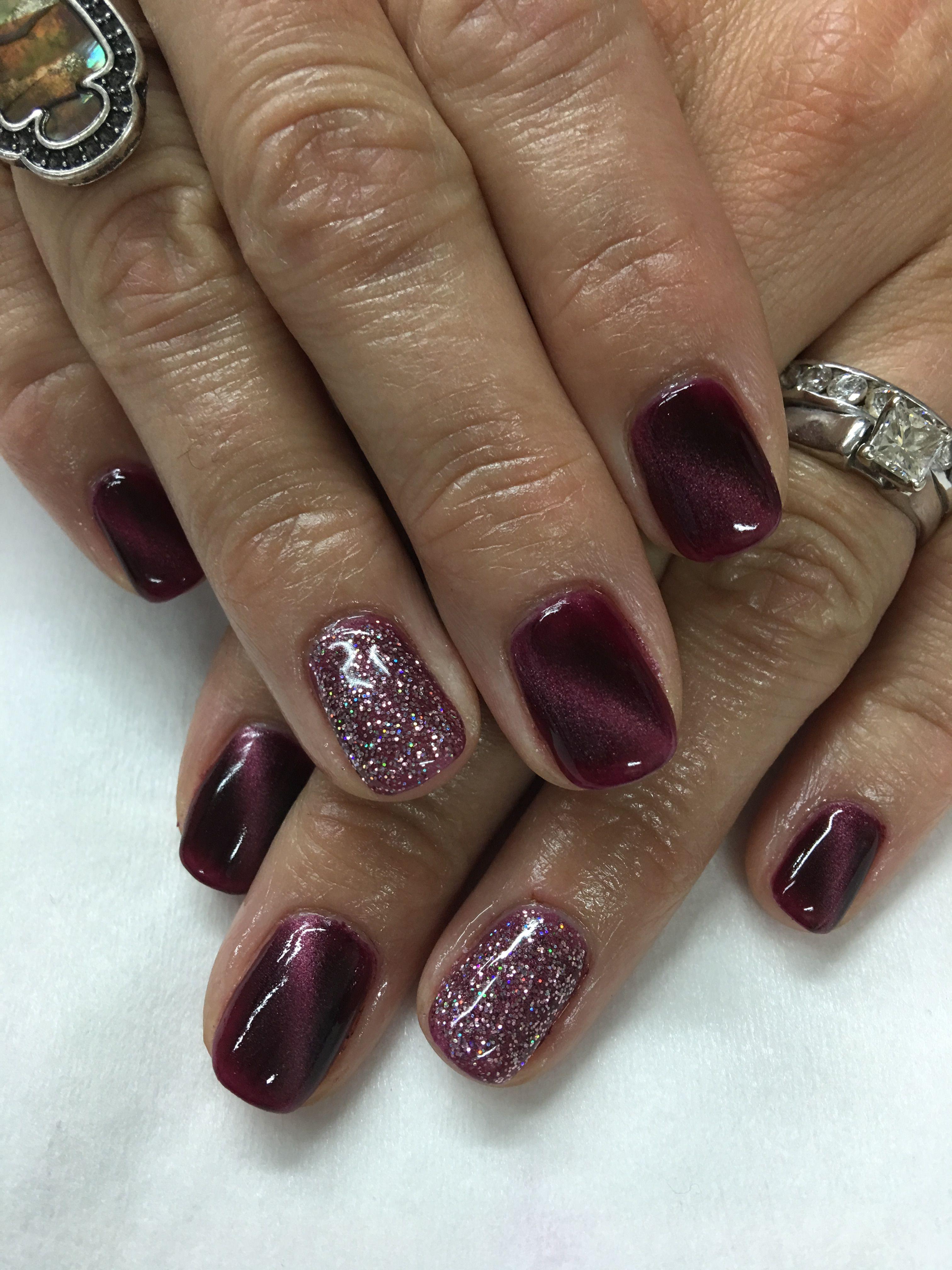 Burgundy Black Cherry Magnetic Gel Polish Pink Glitter Gel Nails Glitter Gel Nails Gel Nails Gel Nail Colors