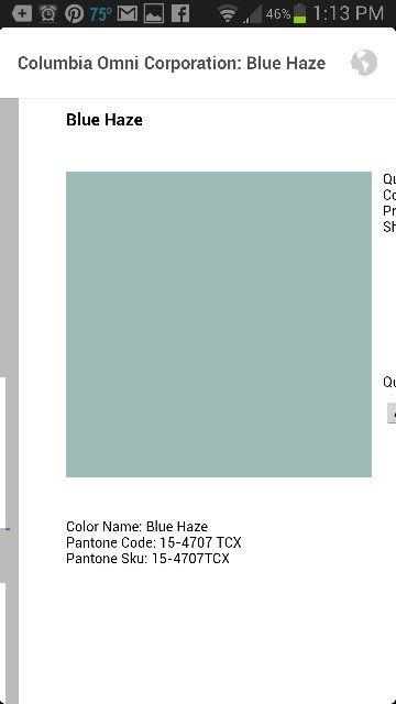 Pantone Blue Haze Colors