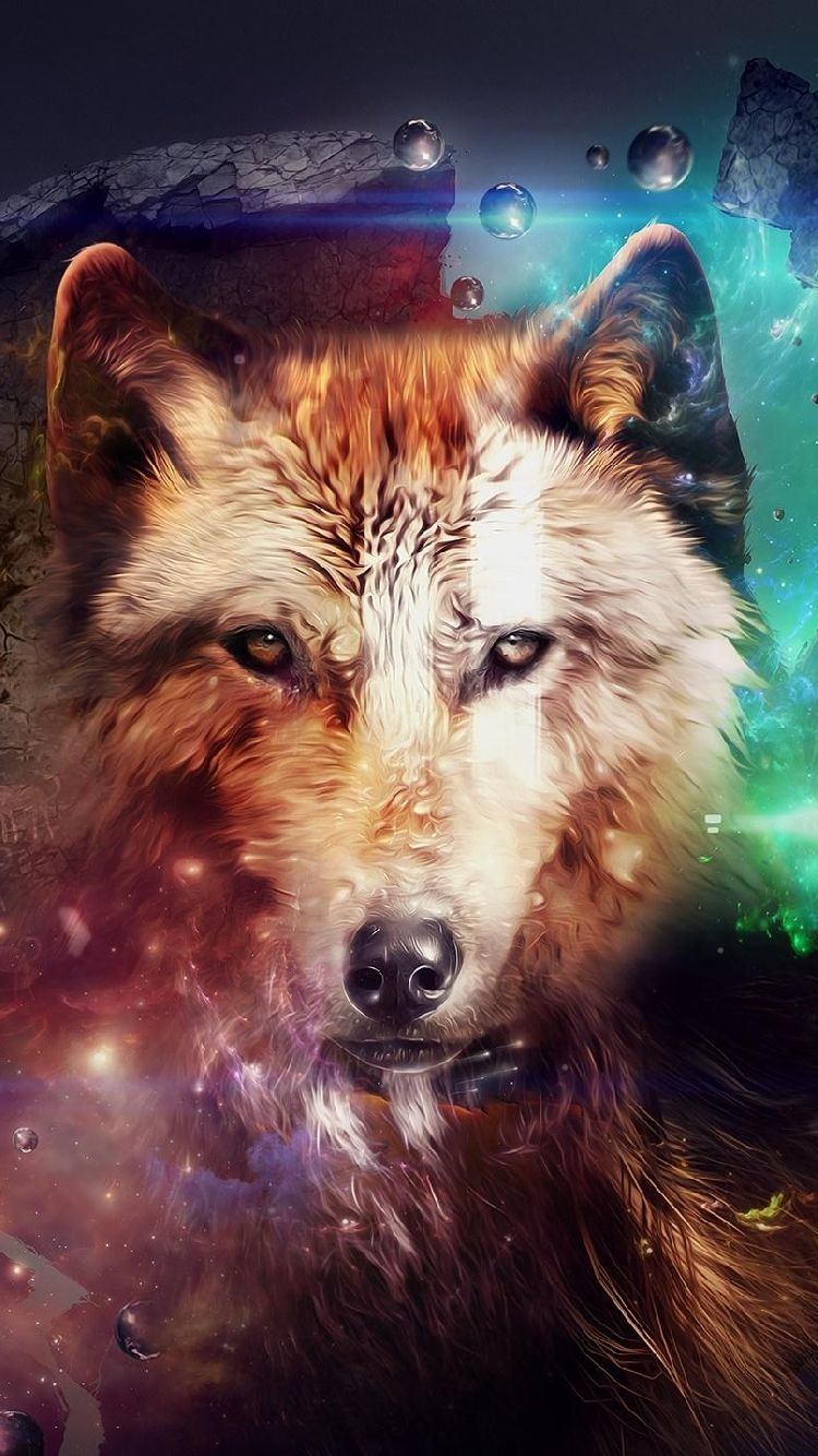 Free Iphone 5 Wallpaper For Your IPhone Multicolor Magic Wolf Head