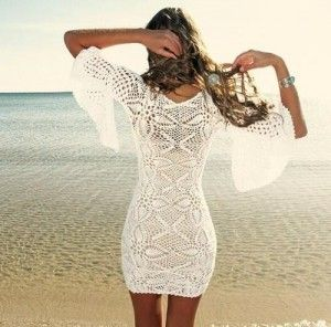 Witte strand jurk