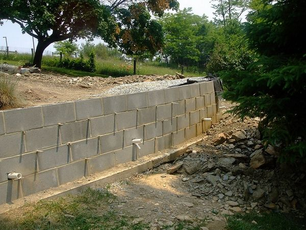 Concrete Blocks Drainage Building A Retaining Wall Retaining Wall Retaining Wall Drainage