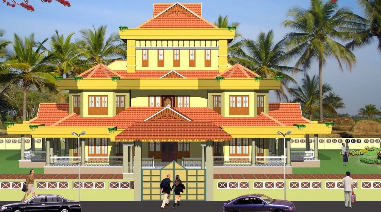 Evens construction pvt traditional kerala house elevation for Colonial style house plans kerala