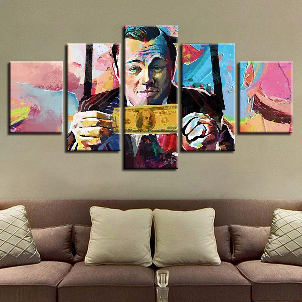 5 Pieces Canvas Graffiti U S Dollar Money Paintings Abstract Pictures Peinture Films Classiques Art