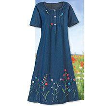 Flowery Denim Dress