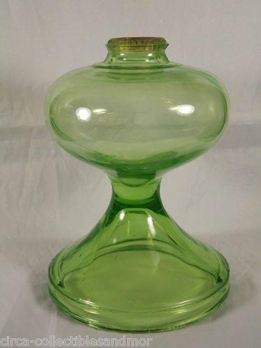 Antique Vaseline Green Glass Oil Lamp Base Only Uranium Vintage Sold Oil Lamps Antique Oil Lamps Vintage Glassware