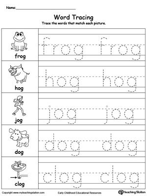 free word tracing og words worksheet topics writing reading and word families