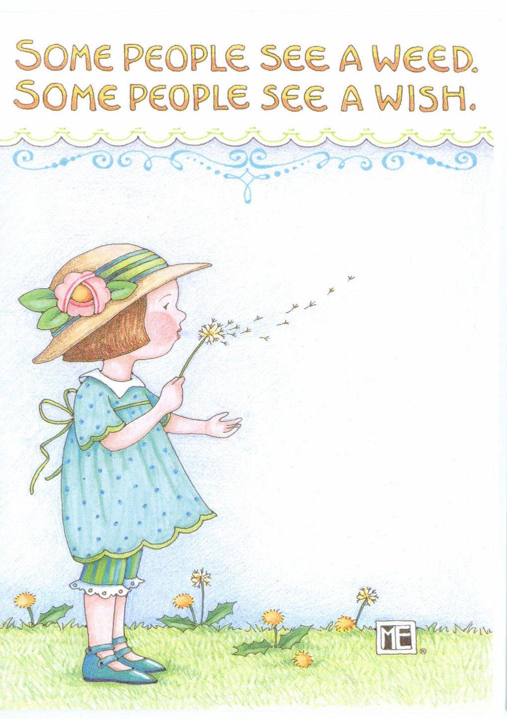 Mary Engelbreit-WEED OR WISH Dandelion-Blank Greeting Card w//Envelope-NEW!