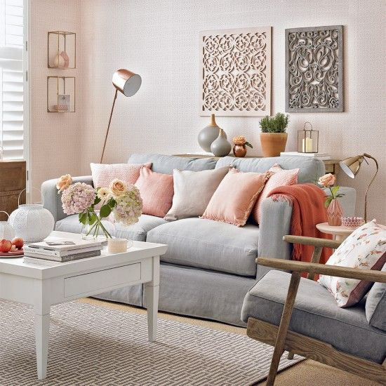 Modern peach and grey living room with fretwork panels ...