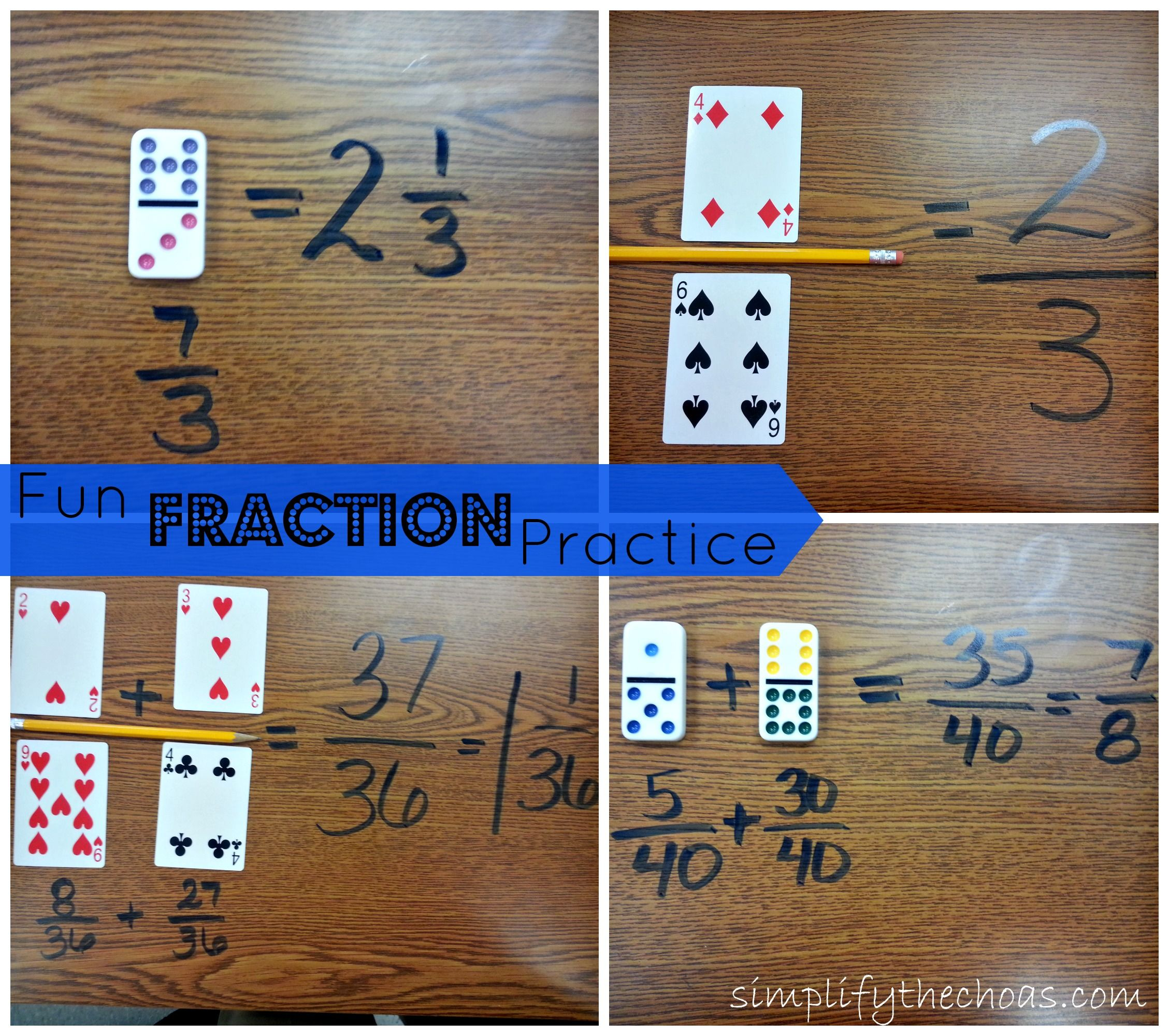 Fun ways to use cards and dominoes for fraction practice