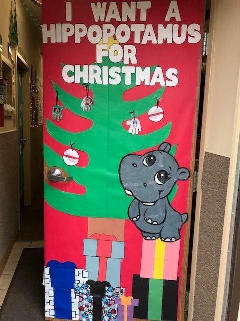 Christmas Door Contest I Want A Hippopotamus For Christmas Holiday Door Decorations Door Decorations Classroom Christmas Christmas Door Decorating Contest