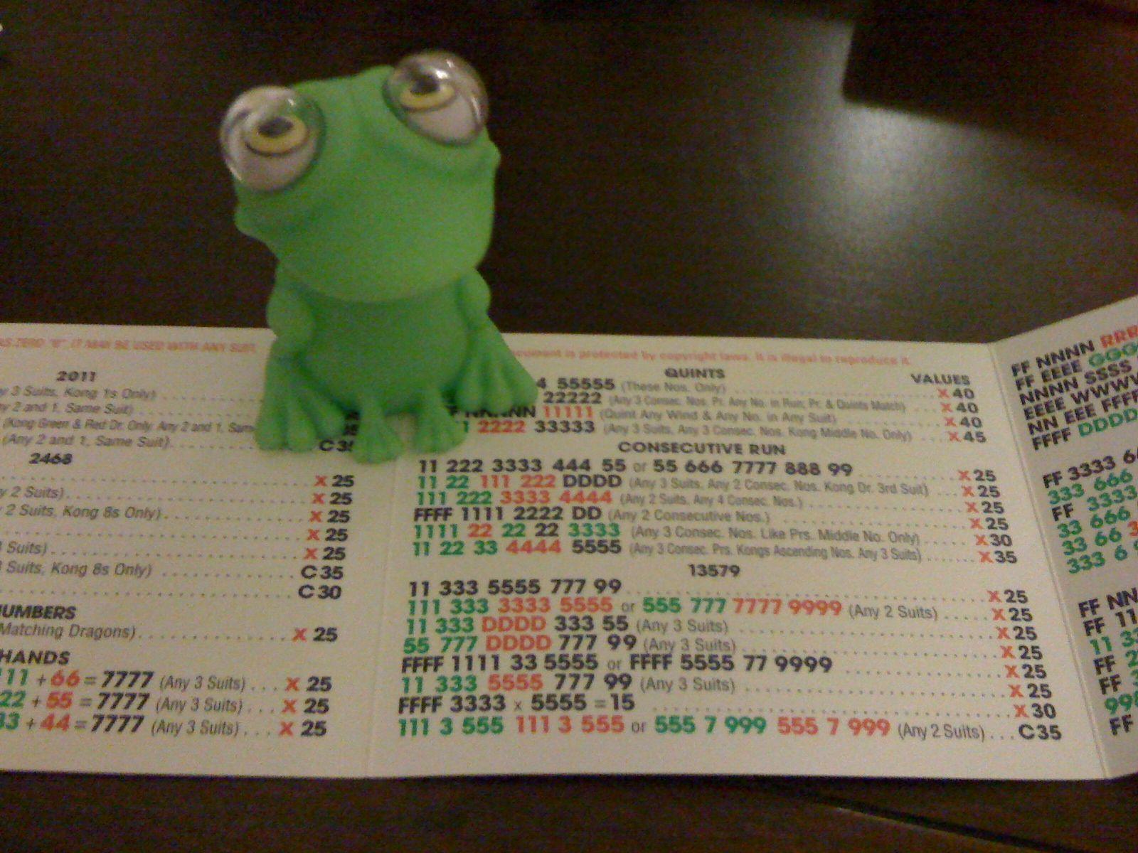 Lucky mah jongg frog Rummy, Mah, Gin rummy