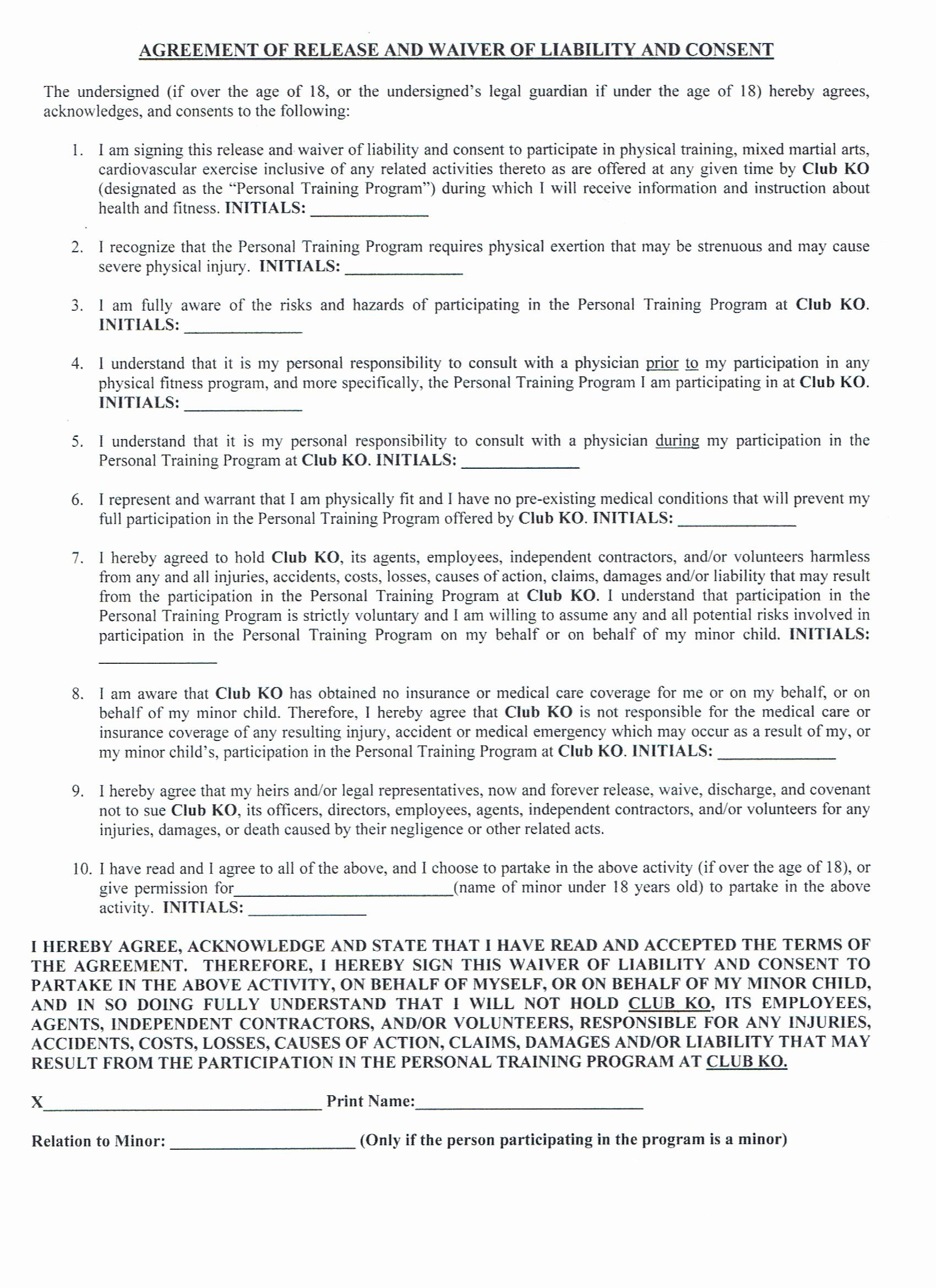 Personal Trainer Waiver form Template Fresh Sign In Waiver