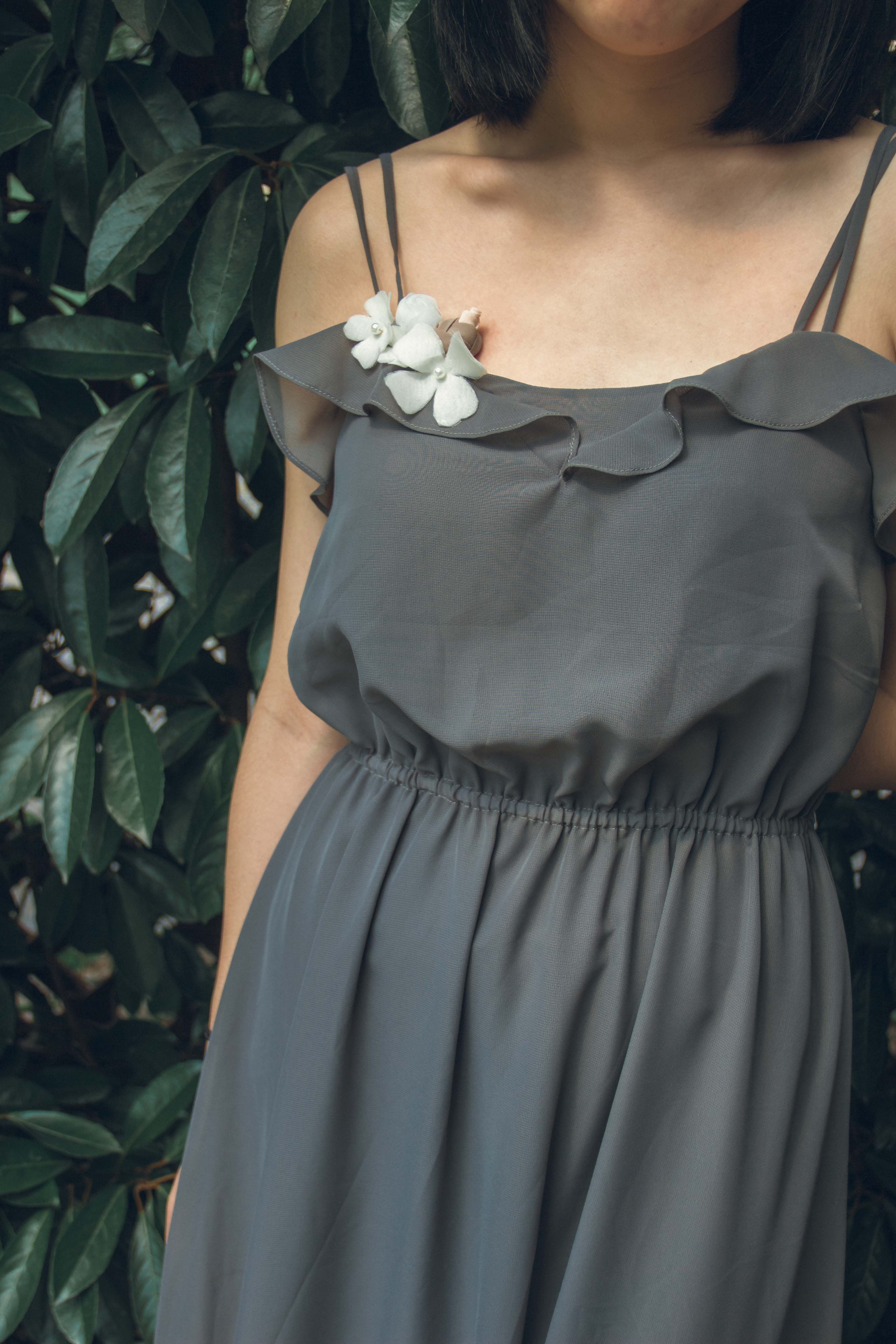 Charcoal gray bridesmaid dresslong ruffle flower wedding dress