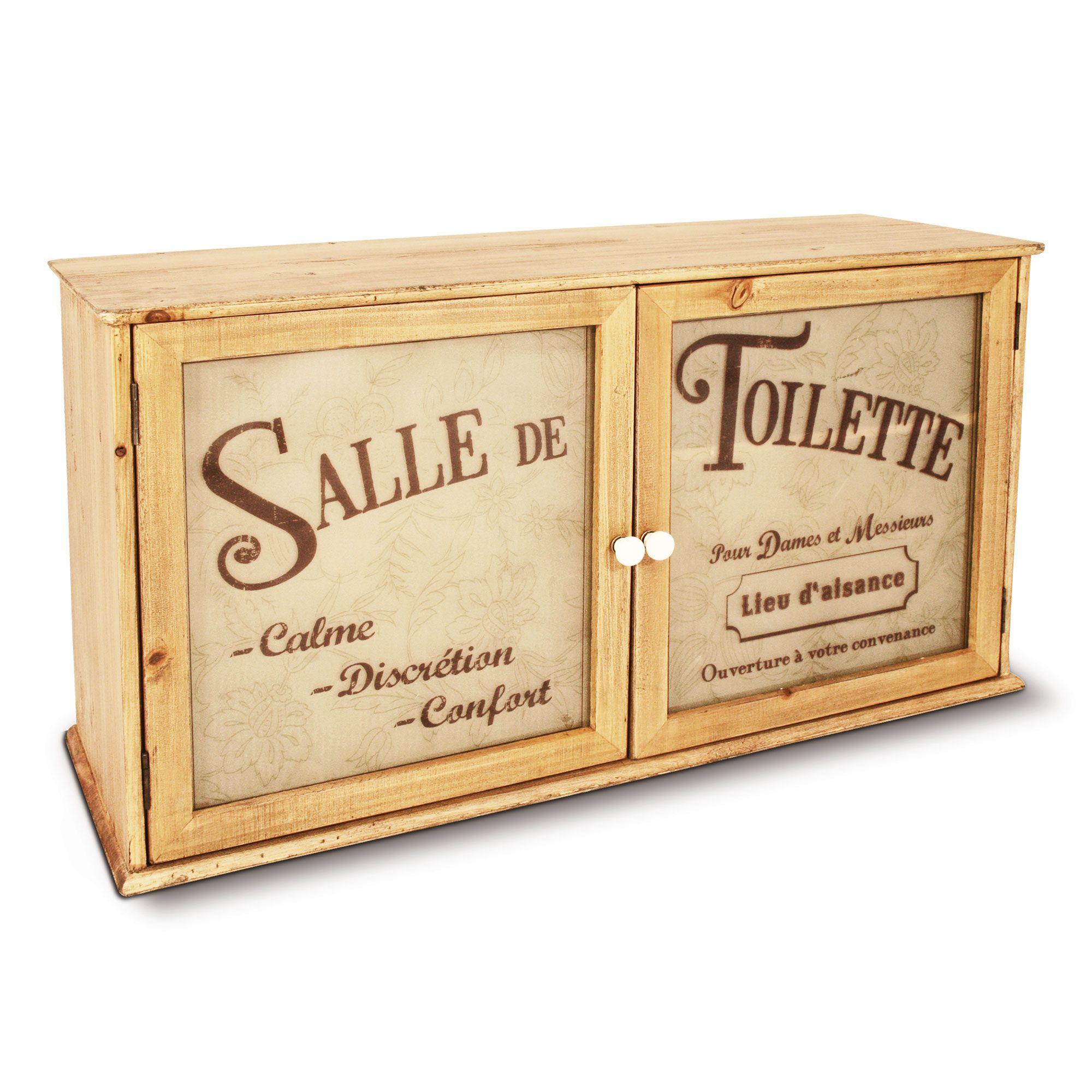 Meuble wc en bois 2 portes salle de toilette baln o for Petit meuble d appoint pas cher