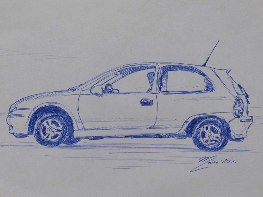 Opel Corsa De 1993 Dessin Au Stylo Par Joan Mane Dessin Stylo Dessin Dessin Coloriage