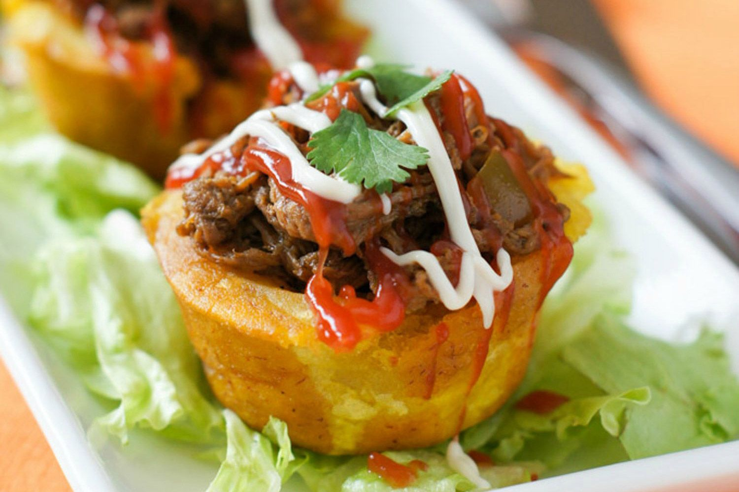 Stuffed Plantain Cups (Tostones Rellenos) - Hispanic Kitchen | Recipe |  Recipes, Slow cooker shredded beef, Plantains