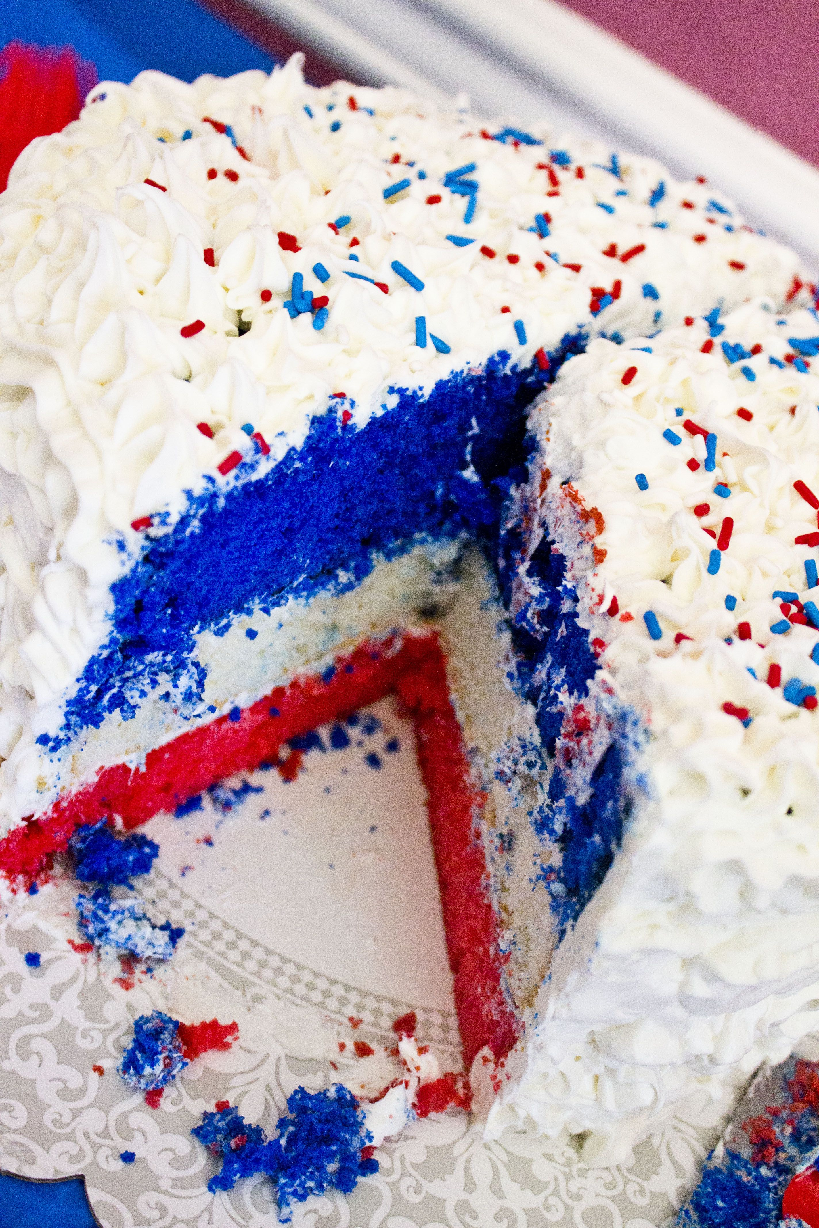 Red White And Blue Birthday Cake For My Mommy Whos Birthday Is