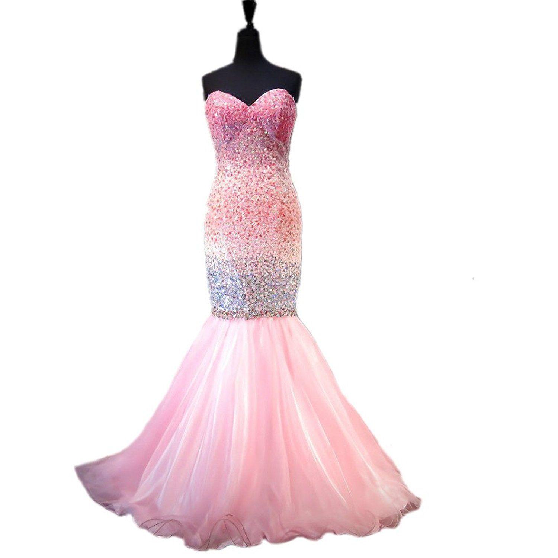 Drehouse womenus beaded crystal mermaid prom dresses luxury evening