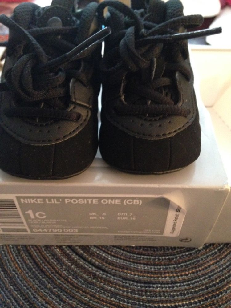 9eb932d19017c5 Nike Lil Infant Baby Triple Black Foamposite Size 1C soft bottom 0-3Months   Nike  Athletic