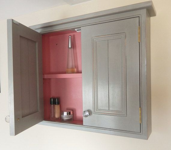 Handmade Traditional Style Grey Painted Wall Cabinet With 2 Doors Stylish Bathroom Storage Organisation Vanity Bathroom Furniture Wall Cabinet Bathroom Wall Cabinets Bathroom Furniture