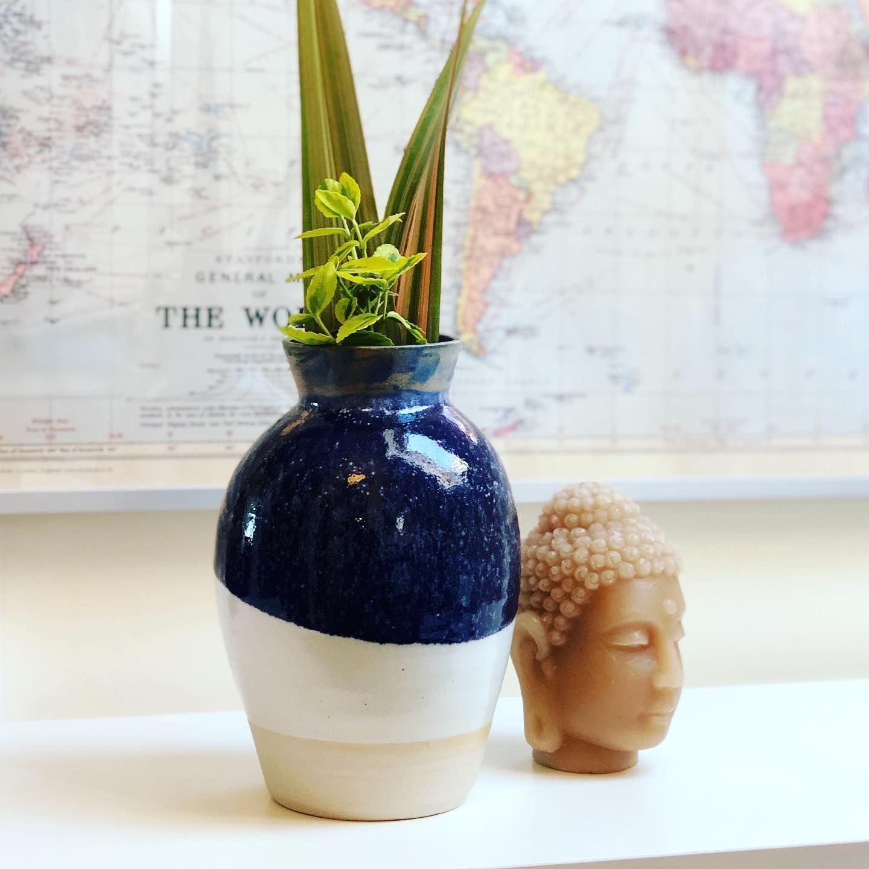 Blue and White Vase . . . #wheelthrown #handmade #decorativevase #vase #plantpot #flowervase #blueandwhite  #ceramics #ceramicvessel #pottery #pottersofinstagram #potoftheday #ilovepottery #contemporaryceramics #instapottery