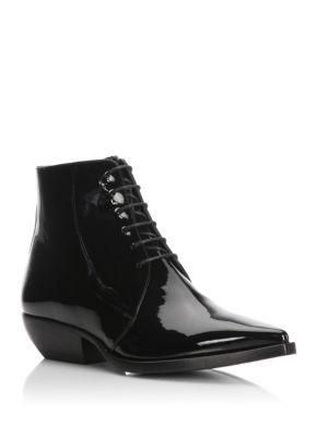 6f485d0409e SAINT LAURENT Theo Patent Leather Lace-Up Booties. #saintlaurent #shoes #
