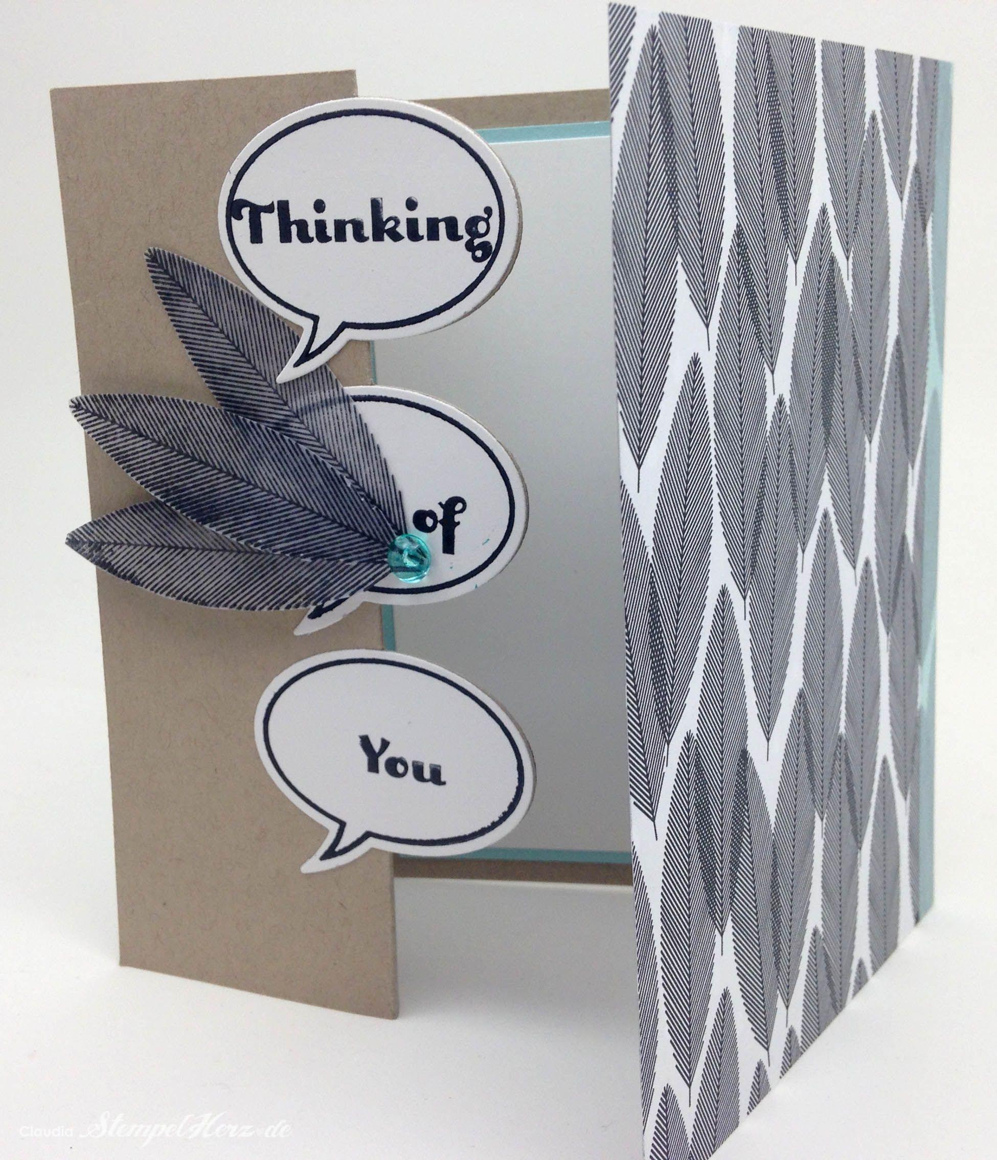 Stampin Up - Stempelherz - Drehkarte - Ganz schön aufgeblasen - Heiteres Hurra - Four You - Designerpapier Schwarz auf Weiß - Drehkarte Thinking of You 04