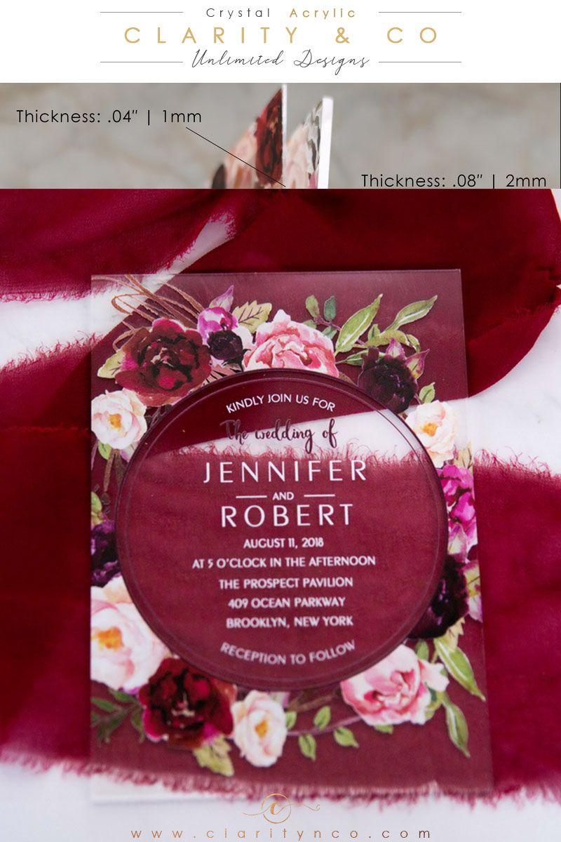 affordable .04″ 1mm acrylic wedding invitations budget
