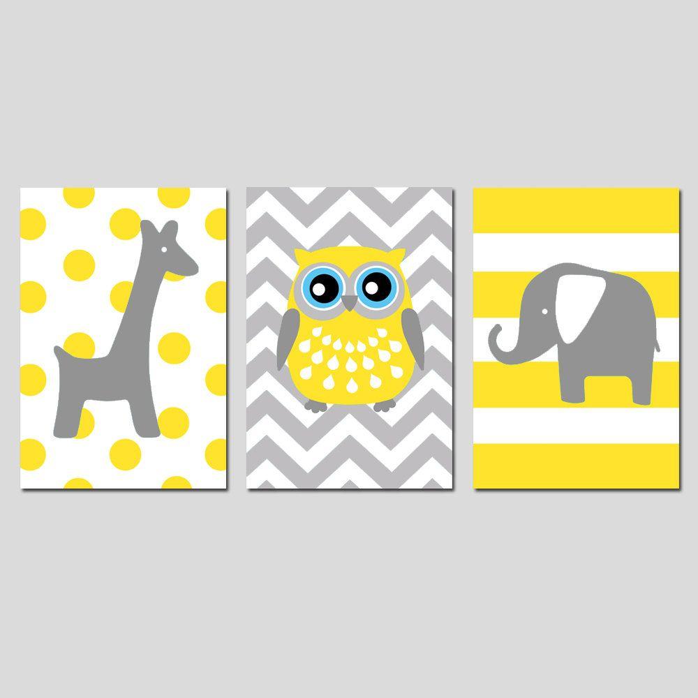 Kids Wall Art - Nursery Trio - Set of Three 13x19 Prints - Polka Dot ...