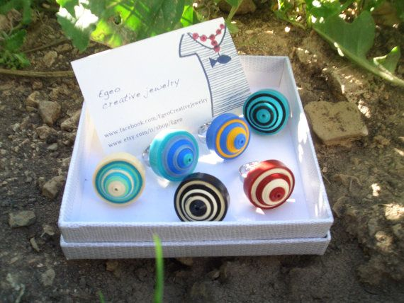 Colorful jewelry - summer paper round ring with an adjustable metal base silver…