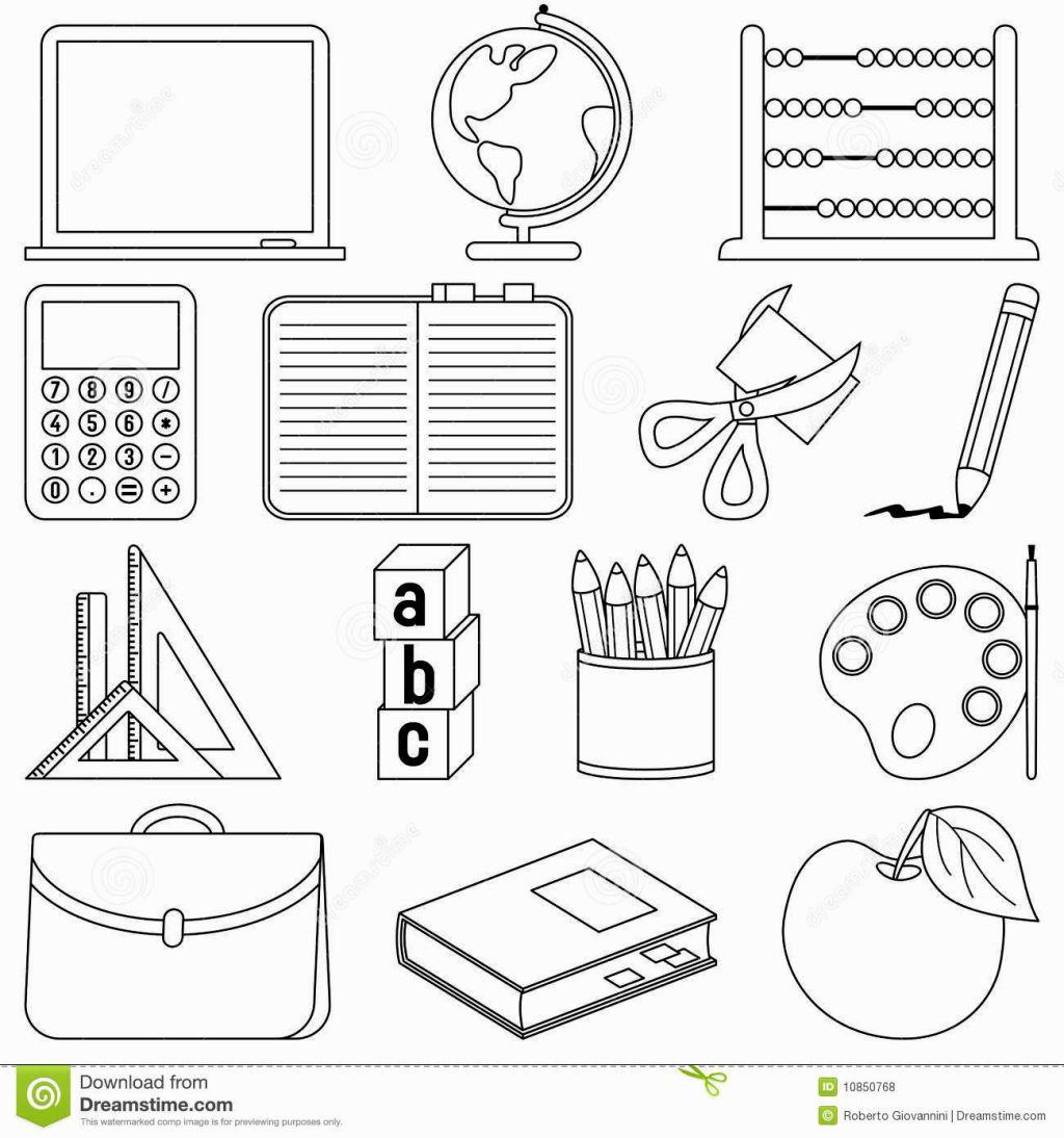School Supplies Coloring Page Dengan Gambar