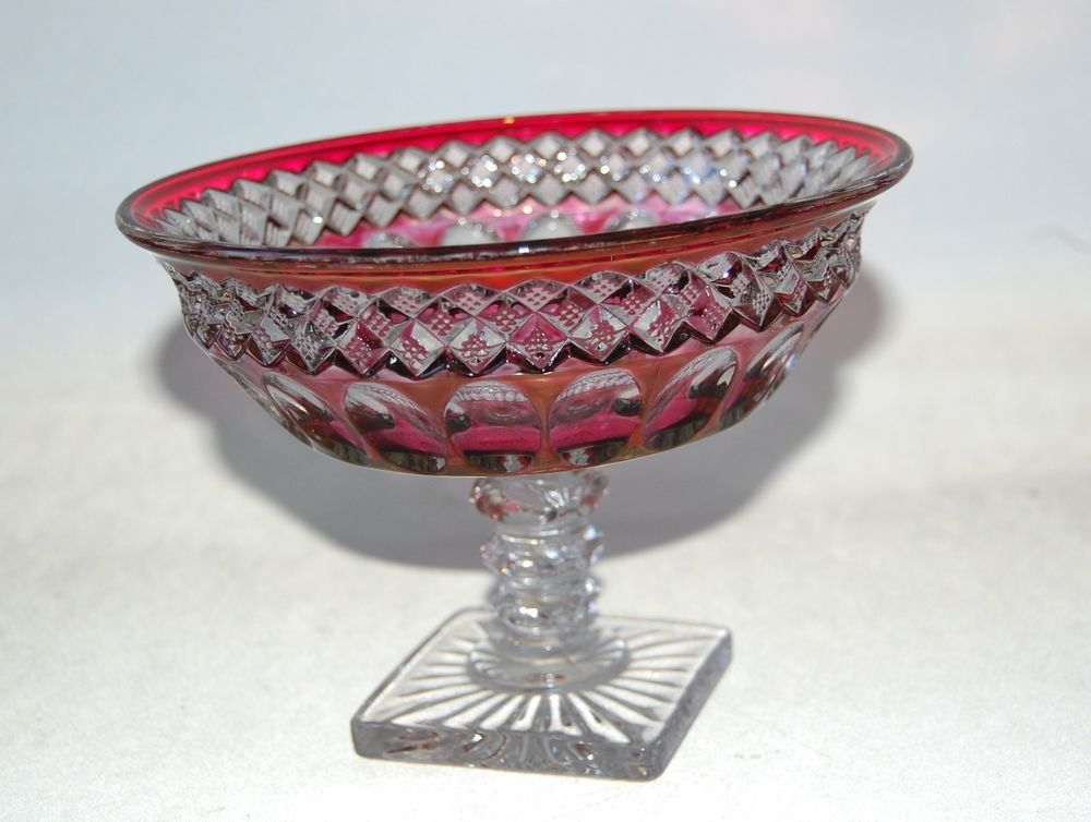 """Westmoreland Glass Waterford Crystal Ruby Stain Bell Rim Compote 7"""" Footed #Westmoreland #waterford"""