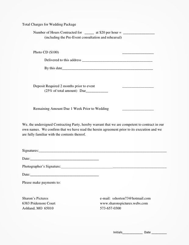 5 Free Wedding Photography Contract Templates Wedding - liability waiver template free