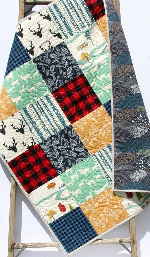 Plaid Baby Quilt: Lumberjack Nursery Bedding, Personalized Baby Quilt