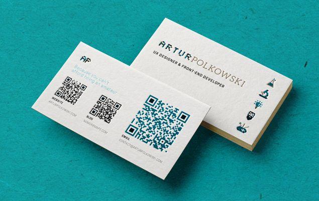 business card design with qr code designmariia