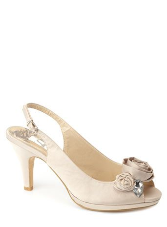BHS Champagne Diamante Trim Sling Back Shoe GBP25